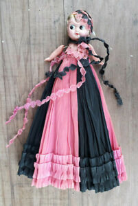 Kewpie-Doll-1930-039-s-With-QC-sticker-Super-Vibrant-Dress-Slight-TLC-required