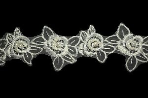"""Lily 2"""" White Floral Embroidered Organza Pearl Beading Bridal Wedding Trim by Yd"""