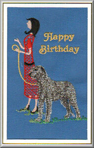 Irish Wolfhound Birthday Card Embroidered by Dogmania FREE PERSONALISATION