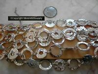 4 Ft Silver Plated Hammered Disk Ring Bulk Large Cable Link Necklace Chain Ch121