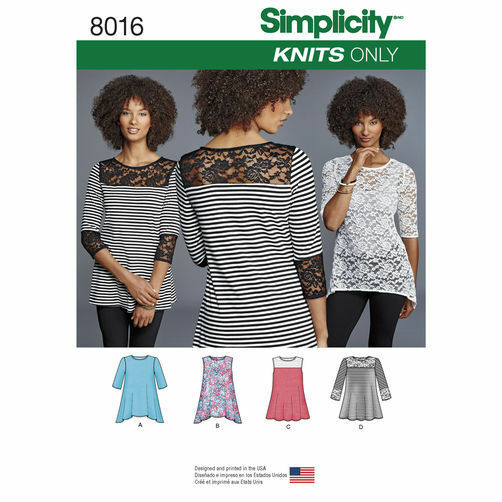 Simplicity Sewing Pattern 8016 Misses 4-26 Easy Tops Shirts Tunics Shaped Hem