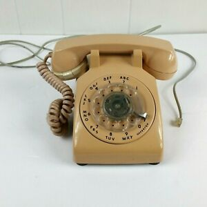 Vintage ITT Beige/Tan Rotary Dial Desk Top Telephone Soft Touch Tone