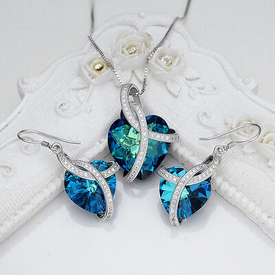 Bridal Heart 925 Sterling Silver Blue Jewelry Set Crystal From Swarovski Crystal
