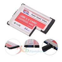 USB 3.0 Expansion PCMCIA Express Card 2-Port Laptop NEC Chip Adapter 54MM 5Gbps