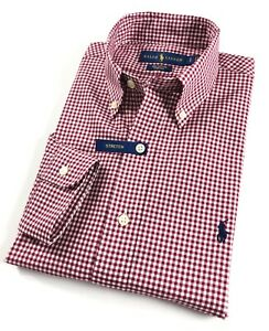 Ralph-Lauren-Shirt-Men-039-s-Bourgogne-Gingham-Check-Standard-Fit-en-coton-stretch