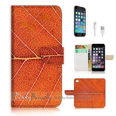 ( For iPhone 6 / 6S ) Wallet Case Cover! Orange Leaf Pulse P0472