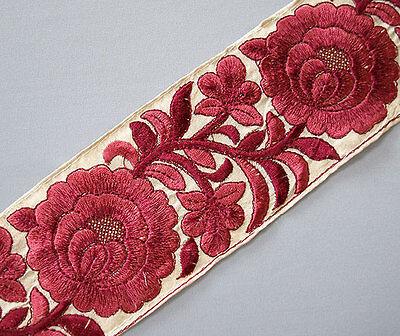 "Wide Parsi Satin Stitch Embroidered Trim. 3 Yards Shades of Burgundy 3"" wide"