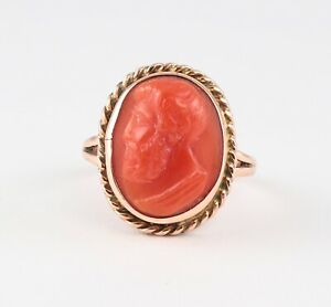 Antique-Victorian-9Ct-9K-Rose-Gold-Ring-With-Carved-Coral-Cameo