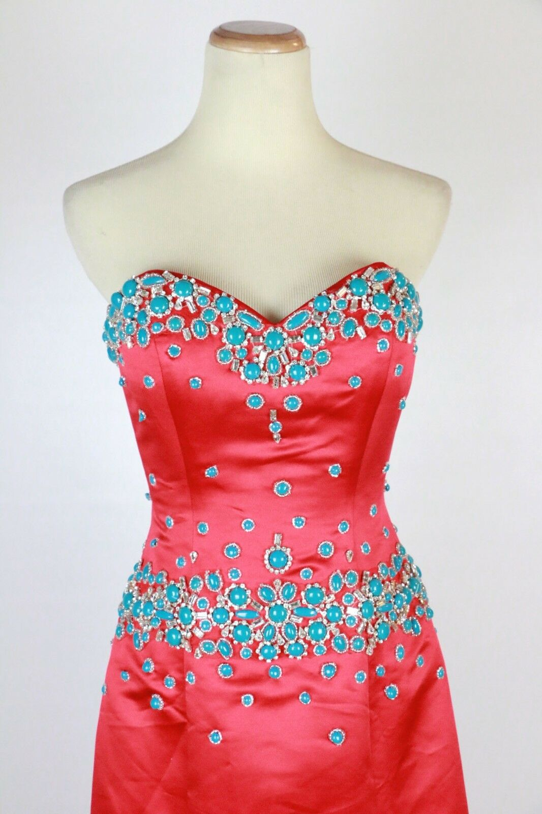 New Jovani 77587 77587 77587 Genuine Red Turquoise Beaded Strapless Gown Ball Women Dress 4 1e01b7