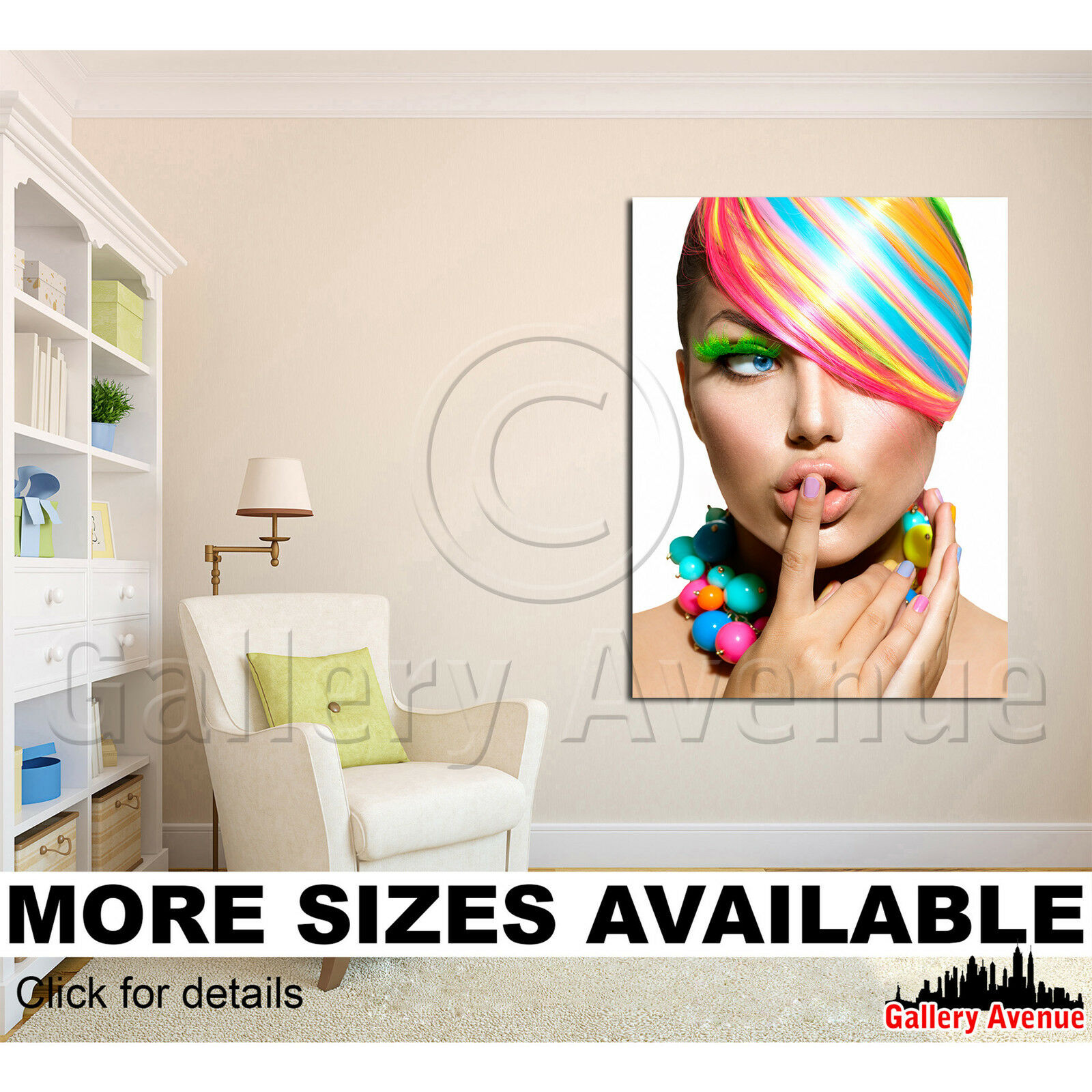 A Wall Art Canvas Picture Print - Beauty Make-up Salon Lips 0087 Nails 3.4
