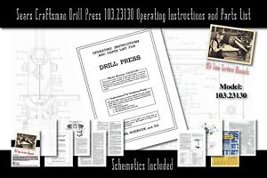 Details about Sears Craftsman King Seeley Drill Press 103 23130 Service  Manual Parts List