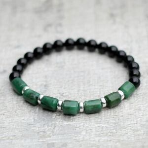 Verde-Jade-Pulsera-con-onice-Negro-amp-Plata-Esterlina-Unisex-Ajuste-Elastico-UK-Made