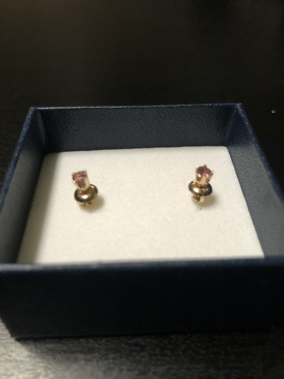 Beautiful SOLID 14K YELLOW gold Pink Tourmaline Round Gemstone Stud Earrings