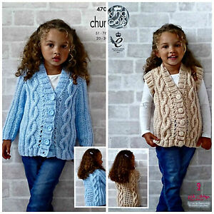 6ccd71d63ecb Girls KNITTING PATTERN V-Neck Cable Jacket   Waistcoat Chunky King ...