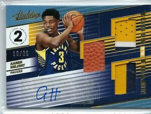 AARON-HOLIDAY-2018-19-ABSOLUTE-TRIPLE-PATCH-BALL-AUTO-AUTOGRAPH-RC-25
