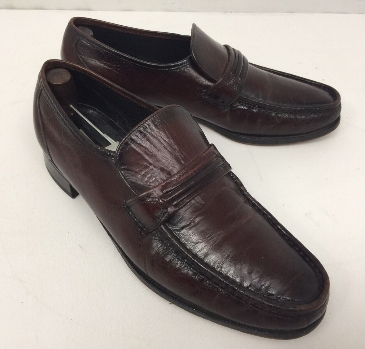 Florsheim Como Burgundy Leather Loafers 33455 Mens US 9.5D In EUC W Trees