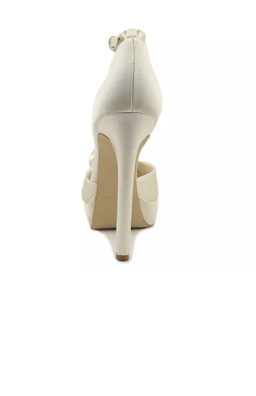 Nine West Vidah 7.5 Off WEISS Ivory Satin Platform Peep Toe Wedding Pearl Sandale
