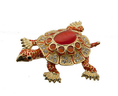Boite a bijoux secret tortue metal dore et strass  5886 FS7