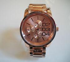 Designer chrono style  bracelet Rose Gold Finish Oversized Heavy fashion watch