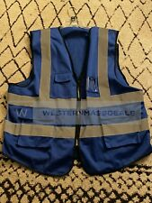 Mesh Reflective Safety Vest With Pockets In Blue With Reflective Stripes 3xl