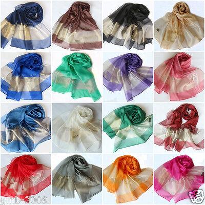 Fashion Women's Men's Solid 100% Silk Long Soft Autumn Stole Wrap Shawl Scarf