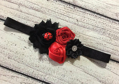 Girl Headband Red And Black Ladybug Headband Hair Accesory Baby Headband