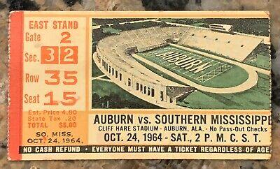1964 Auburn vs Southern Mississippi Football Ticket Stub ...