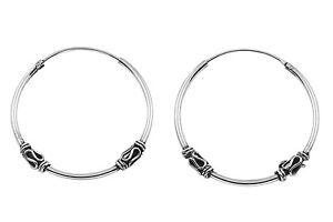 7ee5c92d477105 Image is loading New-Sterling-Silver-25mm-Tribal-Bali-Hoop-Earrings-