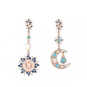 Image Is Loading New Fashion Star Sun Moon Rhinestone Crystal Stud