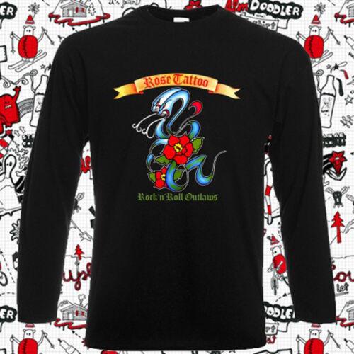 New Rose Tattoo Album Cover Mens Long Sleeve Black T-Shirt Size S-3XL