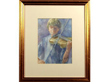 Mary Gundry - 'Rehearsals' - Watercolour, signed. Violin, Art, young boy