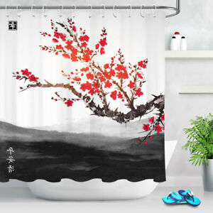 Red Cherry Blossom Japanese Style Sakura Shower Curtain ...