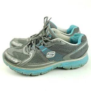 Skechers Tone Ups Fitness Womens Size 8.5 Gray Blue Sneakers