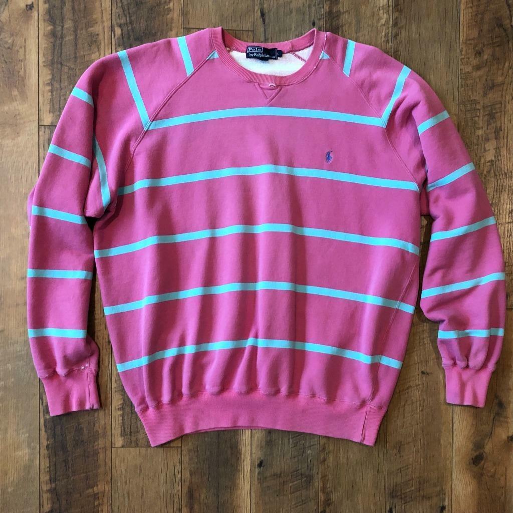 Rare VTG 80s/90s Pink Striped Polo Ralph Lauren P… - image 1