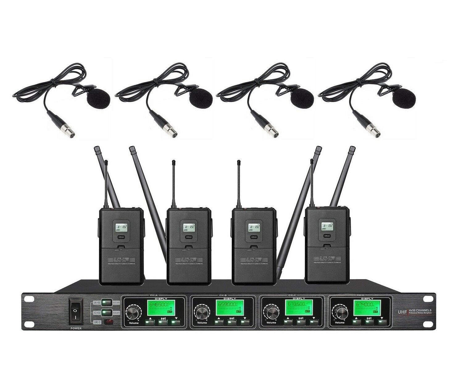 4 Channel Wireless mic System UHF Lavalier 4 Lapel Cordless mic 4 Clip on Mike