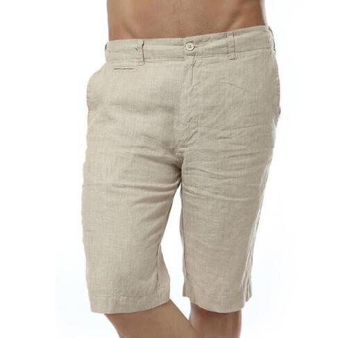 2018 Casual Cotton Linen Mens Summer Slim Thin Half Short Pants Fashion Trousers