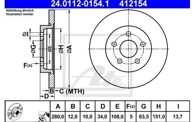 ATE Juego de 2 discos freno 280mm para FORD MONDEO JAGUAR X-TYPE 24.0112-0154.1