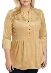 New-Directions-Women-039-s-Tan-Suede-3-4-Sleeve-Blouse-Shirt-Top-Size-Plus-Size-3X