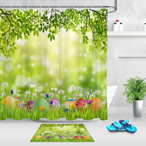 Easter Eggs Spring Green Grass /& Wild Flowers Shower Curtain Set Bathroom Decor