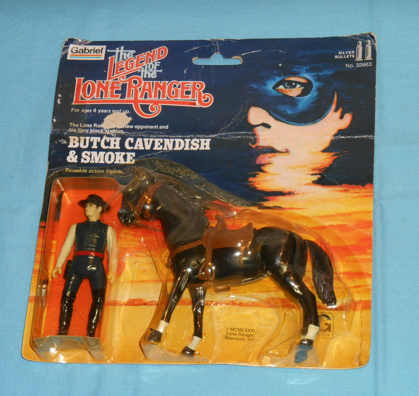 Vintage Gabriel The Legend of The Lone Ranger Butch Cavendish & fumée Comme neuf on Card RARE