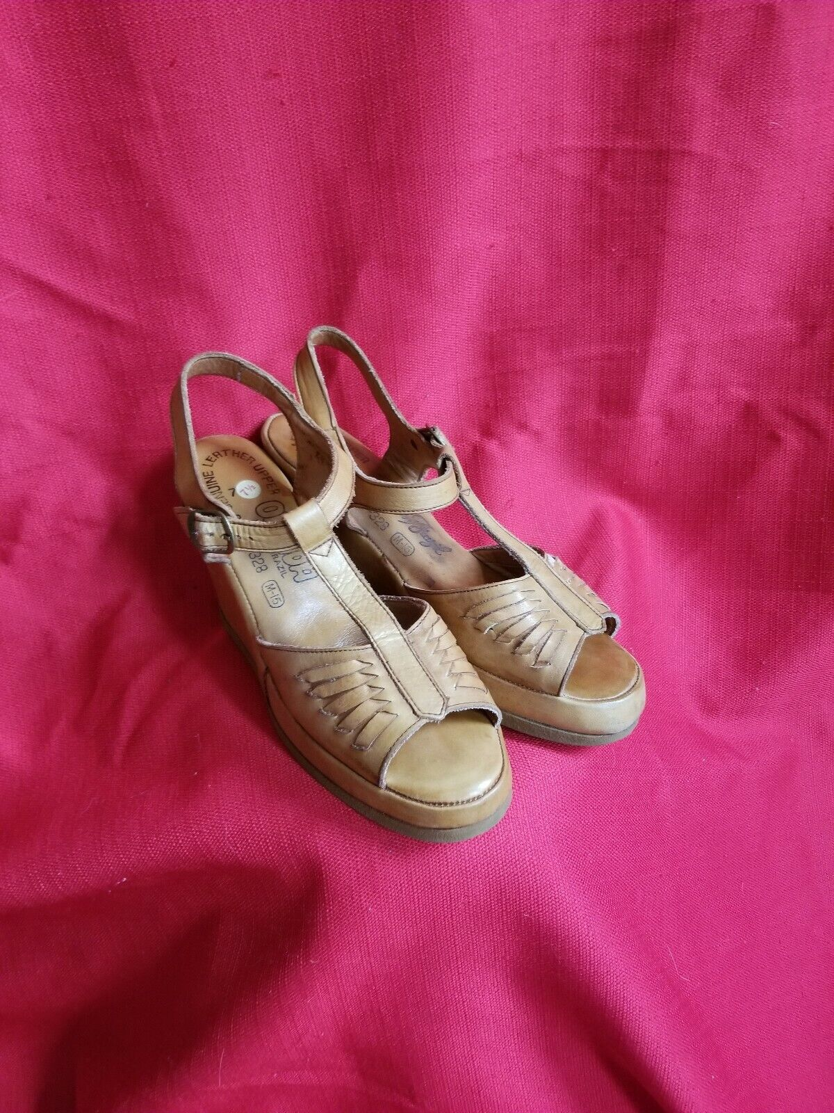 Vtg 1970s does 40s Leather Wedge Sandals Size 7.5… - image 2