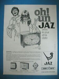 PUBLICITE-DE-PRESSE-JAZ-PENDULETTE-REVEIL-TRANSISTOR-HORLOGERIE-AD-1970