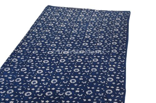 Sanagneri Indigo Hand Block Print Fabric By The Yard Cotton Dressmaking Fabric