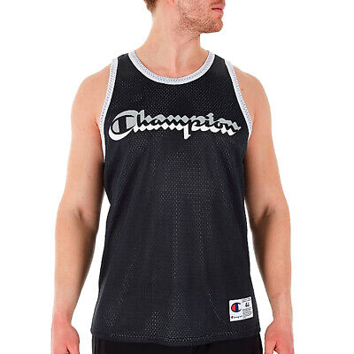 162214a3ed24 Details about Champion Black/Silver Reversible Mesh Tank Top