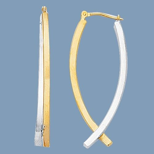 All Shiny Curved Square Tube Hoop Earrings Real 14K Yellow White TwoTone gold