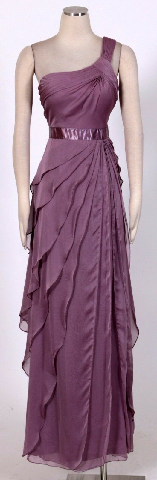 ADRIANNA PAPELL Purple Sz 12 Women's Formal One Shoulder Tiered Dress  New