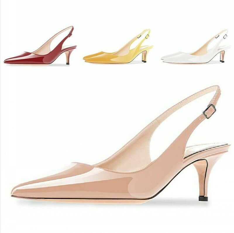 Womens Slingbacks Pumps Pointy toe 6.5cm Heel Buckle Heels Party Sandals shoes