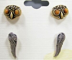 Details About Lucky Brand Hoot Couture Owl Wings Earring Set Crystal Gold Tone Silver