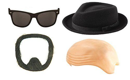 Breaking Bad Walter White Bald Wig Black Hat Goatee Moustache Beard and  Glasses for sale online  9e05f210d7d