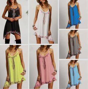 Women-Boho-Tribal-Print-Sleeveless-Beach-Sundress-Casual-Asymmetrical-Mini-Dress